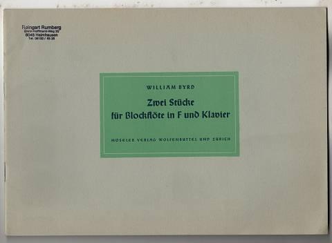 Zwei Stücke für Blockflöte in F und Klavier / hrsg. v. Ferdinand Conrad [Partitur, Stimmen].