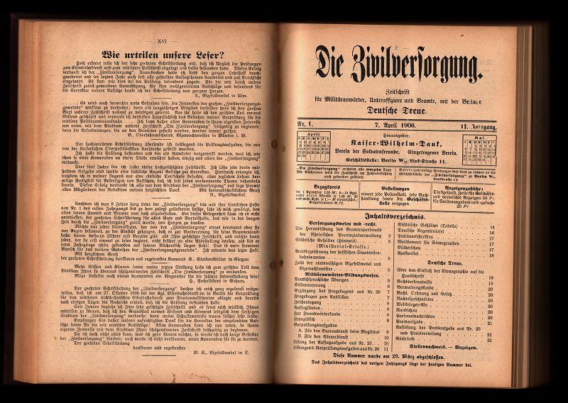 Die Zivilversorgung 10./11. Jahrg. 1906/07 : Zeitschrift für Militäranwärter, Unteroffiziere und Beamte mit den Beilagen Deutsche Treue und Vakanzenliste für Militäranwärter.