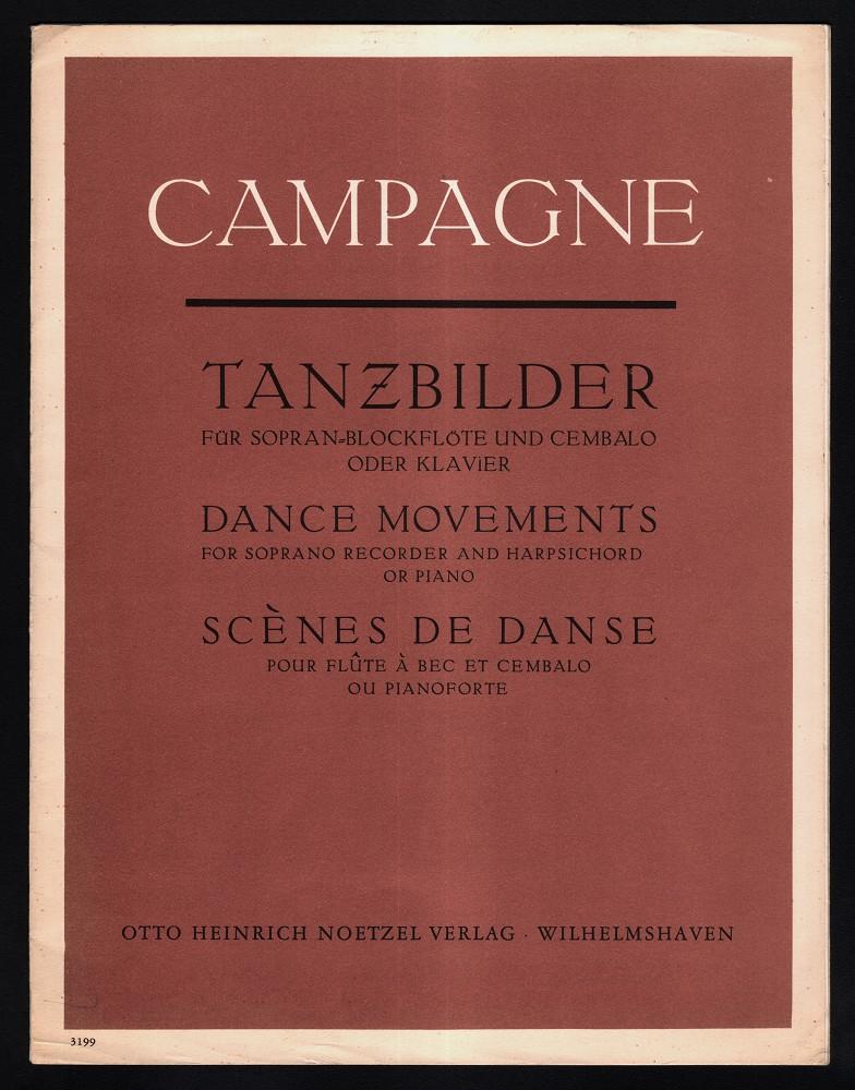 Tanzbilder (1958) für Sopran-Blockflöte und Cembalo oder Klavier. Ernte-Tanz, Fröhlicher-Tanz, ... Dance Movements, Harvest Dance