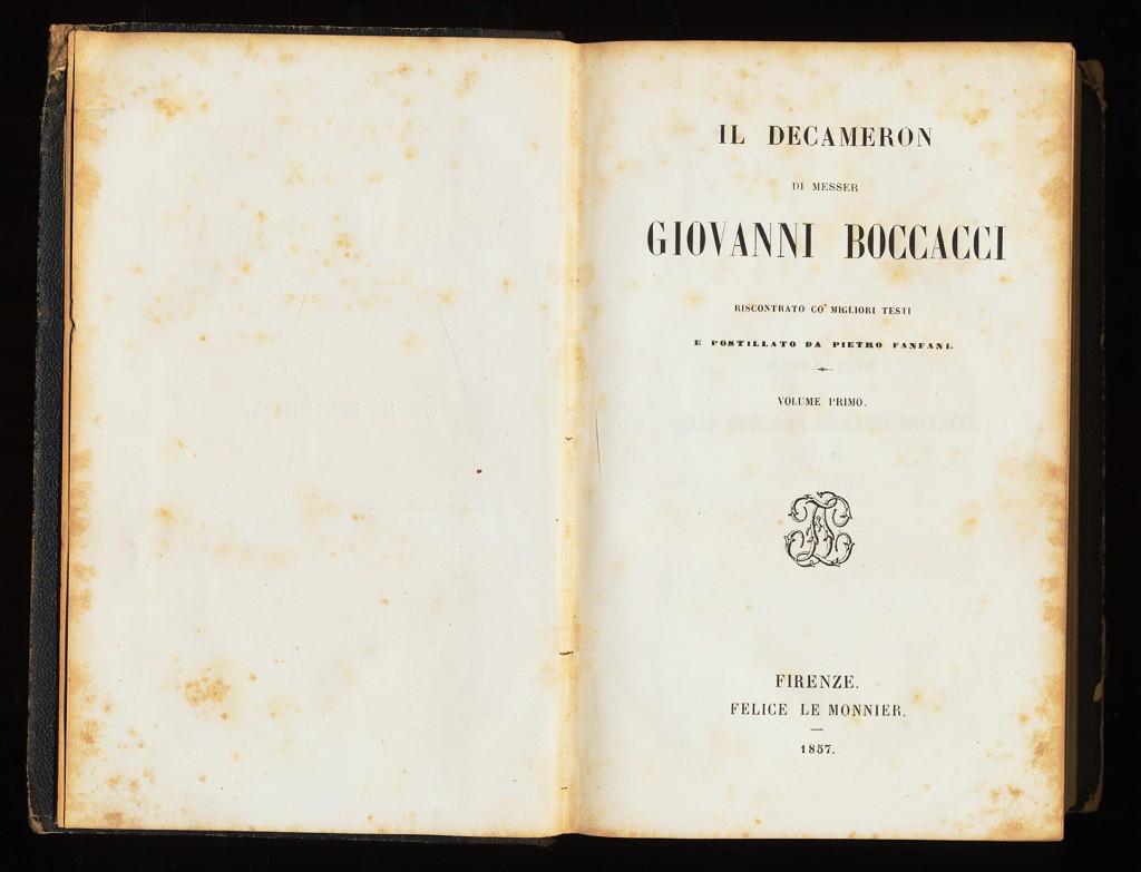 Il Decameron di messer Giovanni Boccacci (Volume primo) Riscontrato co´migliori testi. E postillato da Pietro Fanfani.