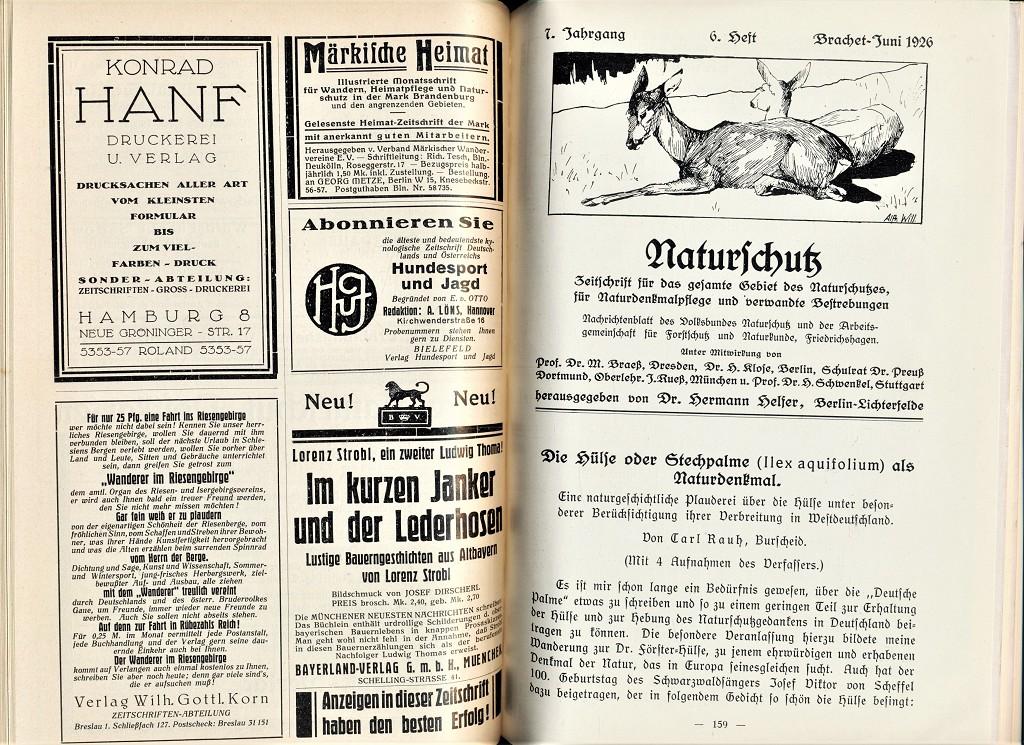 Naturschutz, 7. Jahrg. 1926 Heft 1-12 : Zeitschrift für das gesamte Gebiet des Naturschutzes, Naturdenkmalpflege und verwandte Bestrebungen.