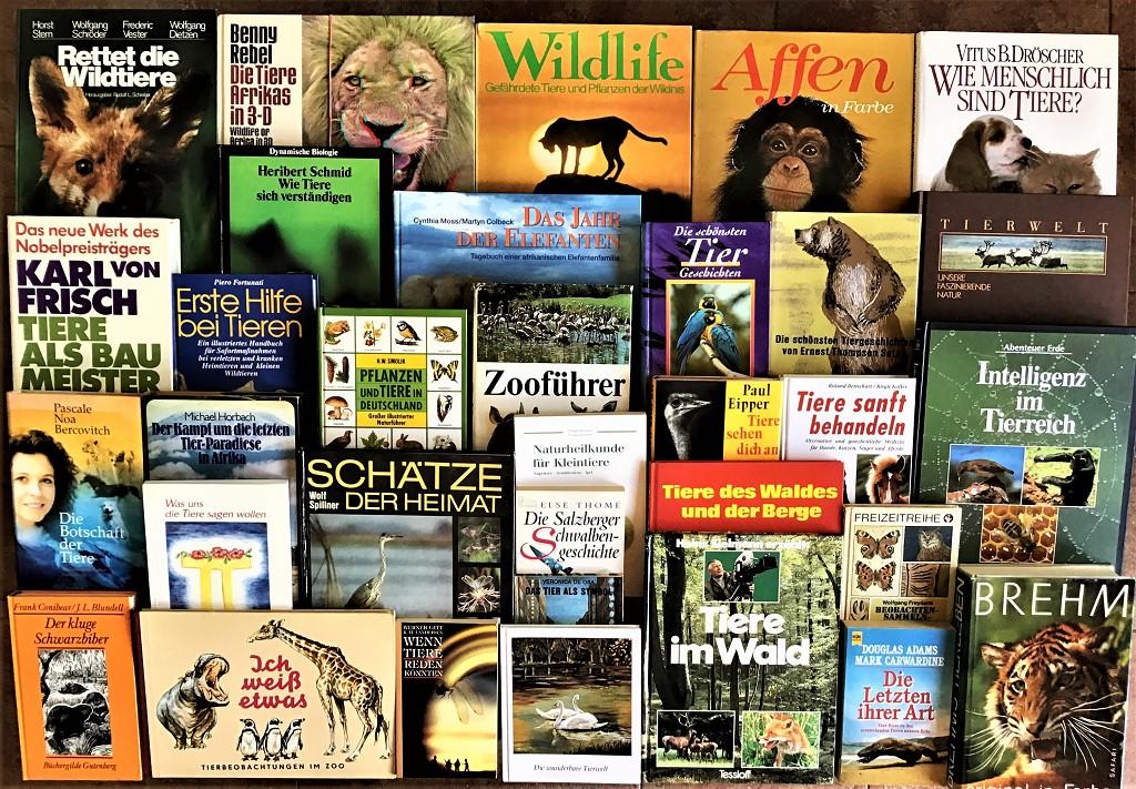 43 Bücher über Tiere Fauna Wildtiere Haustiere Wissen Ratgeber Erzählungen Paket