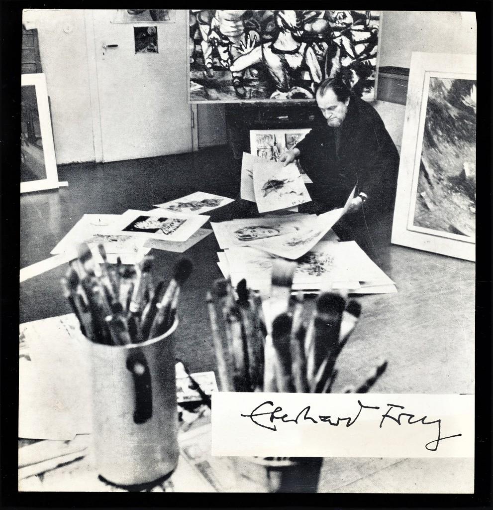 Ausstellung Eberhard Frey : Bilder und Zeichnungen - Staatliche Galerie Dessau, Schloss Georgium 9.4. - 5.6.1977, Staatliche Galerie Moritzburg, Halle, Galerie Marktschlösschen 31.7. - 4.9.1977, Museum Schloss Bernburg, Dezember 1977