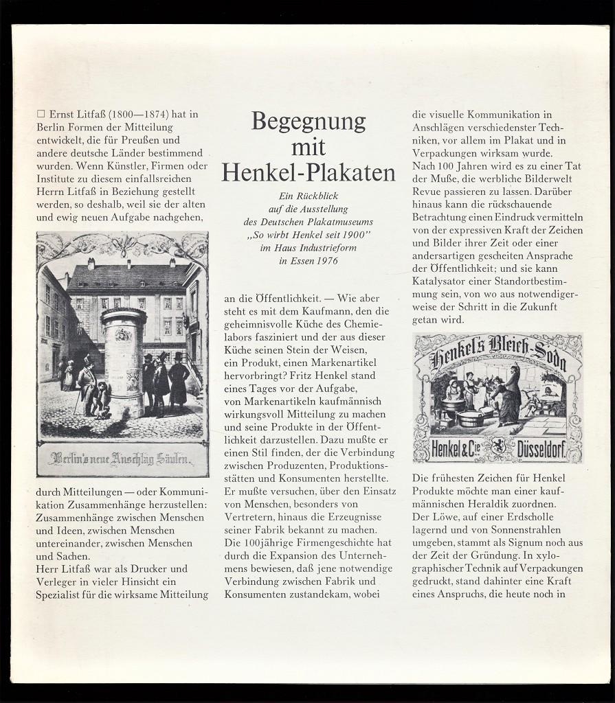 Mellinghoff, Dr. Frieder und Deutsches Plakatmuseum: Begegnung mit Henkel-Plakaten : Ein Rückblick auf die Ausstellung des Deutschen Plakatmuseums