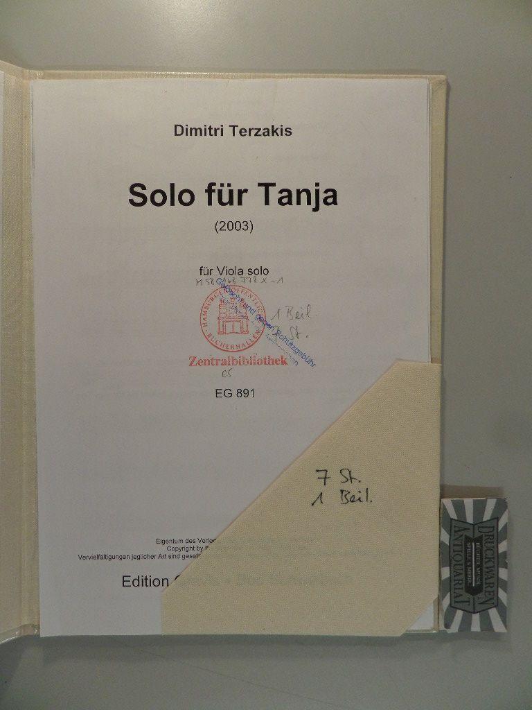 Solo für Tanja (2003) für Viola solo. EG 891.
