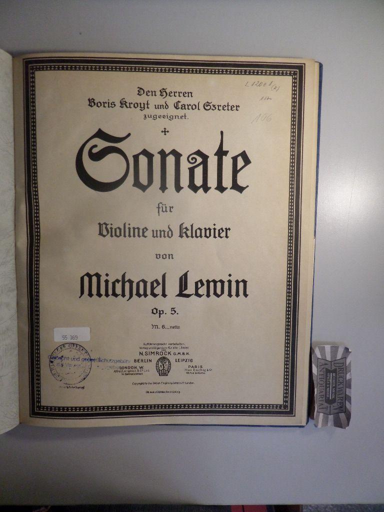 Michael Lewin - Op. 5 : Sonate für Violine und Klavier.