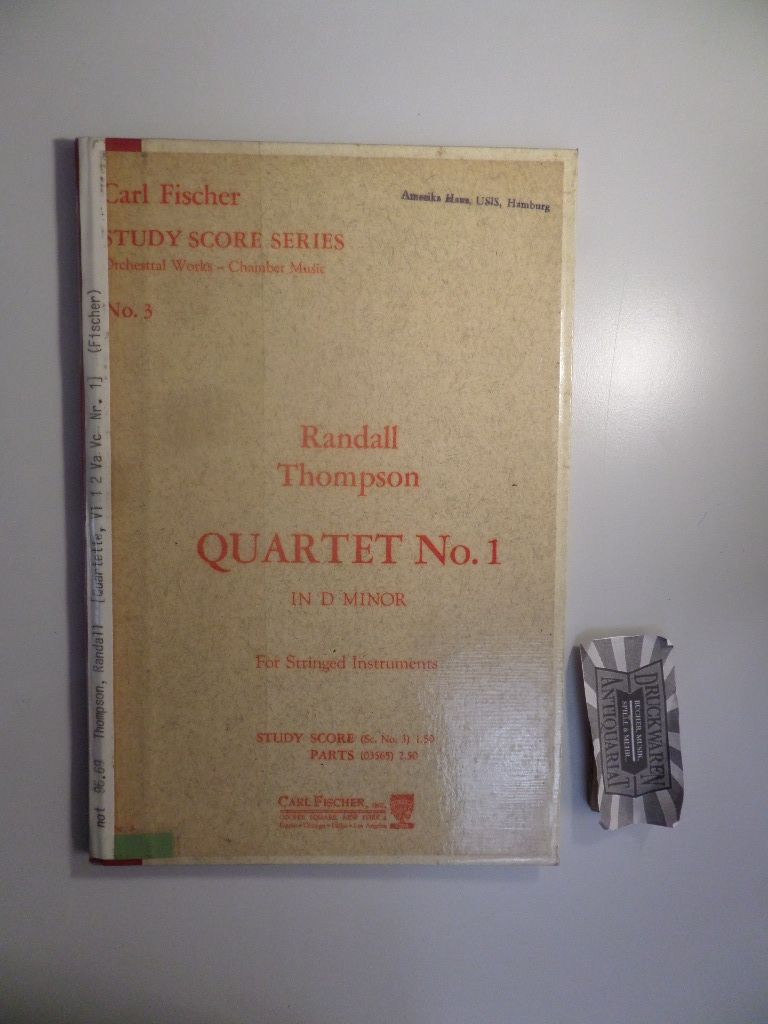 Randall Thompson : Quartet No. 1 in D minor for stringed instruments. Study score series - No. 3.