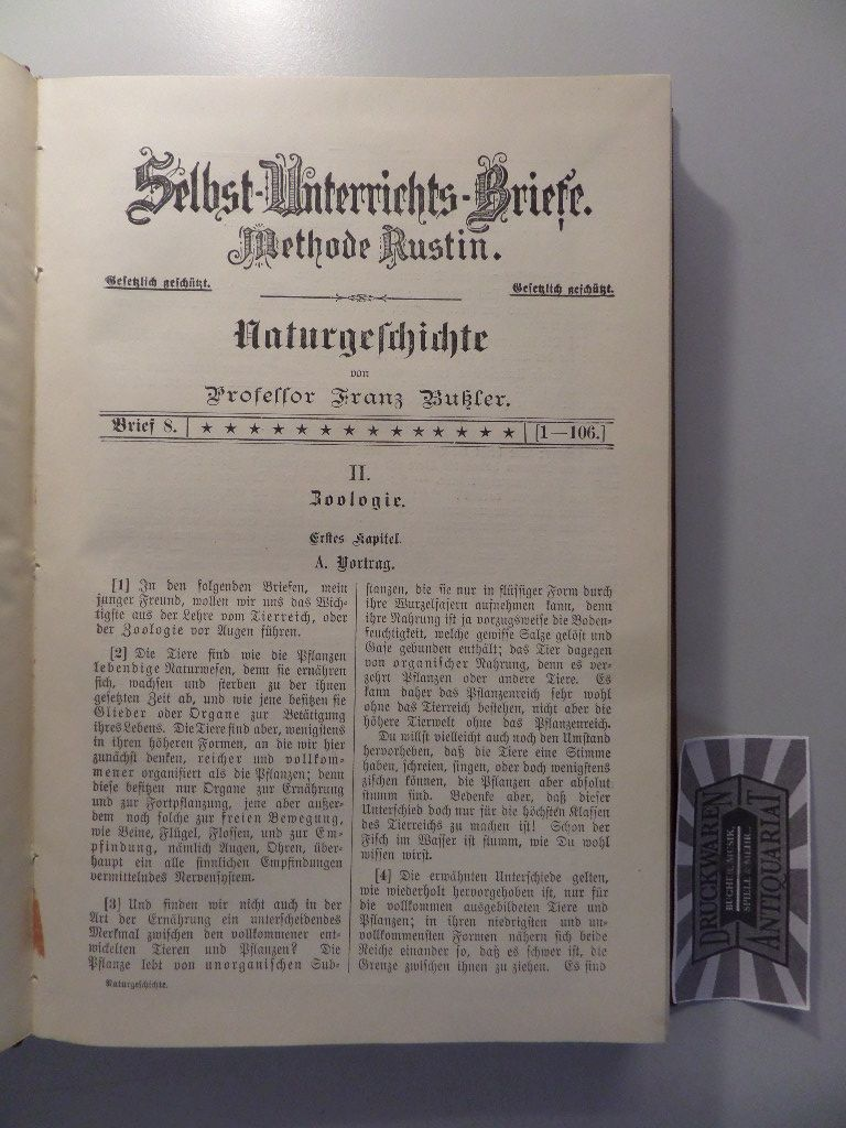 Bußler, Franz: Selbst-Unterrichts-Briefe - Methode Rustin : Naturgeschichte - Brief 8-21.