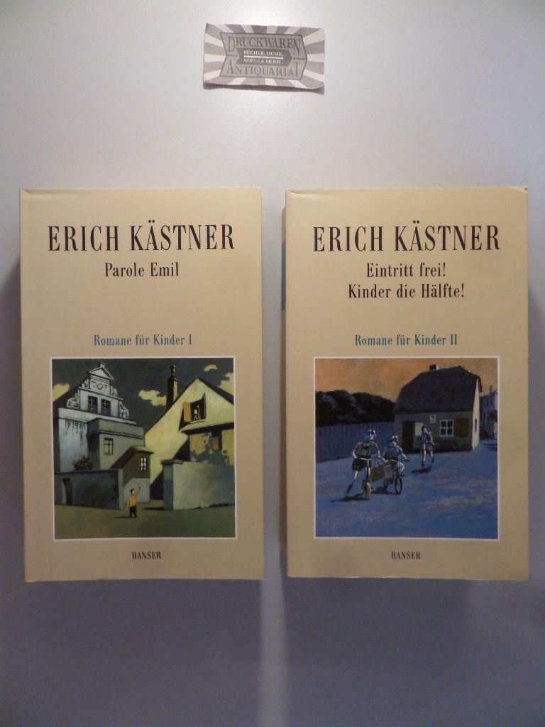 Kästner, Erich und Franz Josef Görtz [Hrsg.]: Romane für Kinder I + II [2 Bd.]. Band I: Parole Emil / Bd. II: Eintritt frei! Kinder die Hälfte! (Erich Kästner: Werke VII + VIII).