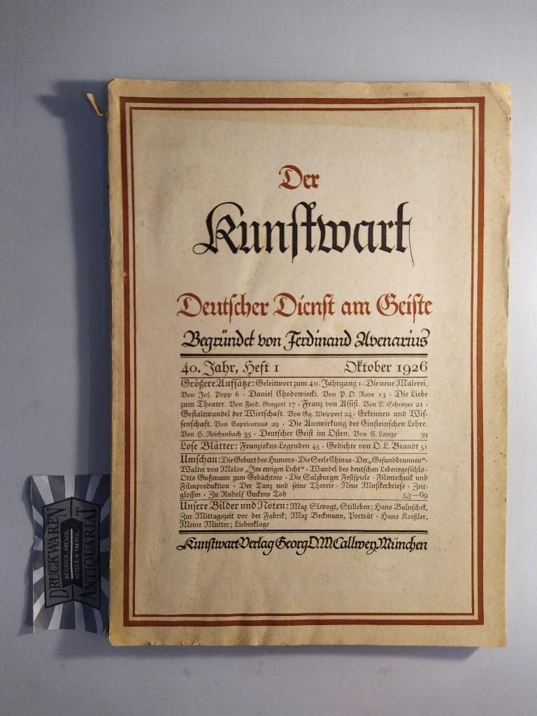 Der Kunstwart. Deutscher Dienst am Geiste. 40. Jahr, Heft 1 1926.