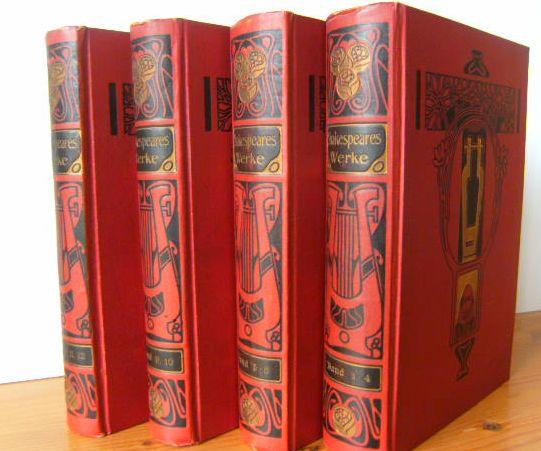 Shakespeares sämtliche dramatische Werke in zwölf Bänden. Übers. von [August Wilhelm] Schlegel u. [Ludwig] Tieck. Mit einer Einleitung von Rudolf Fischer. Bd. 1-4; 5-8; 9-10; 11-12 [= 12 Bde. in 4 Bänden / Büchern].