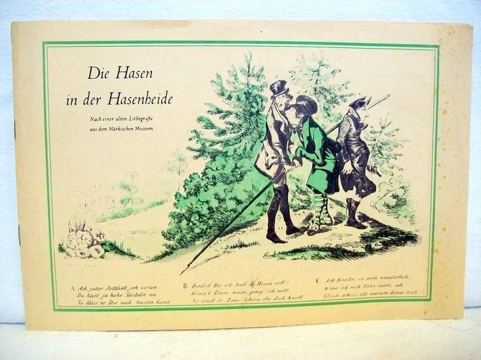 Die Hasen in der Hasenheide , nach einer alten Lithografie aus dem märkischen Museeum mit Zeichnungen von Wilhelm Busch, Franz Pocci und Max Ludwig