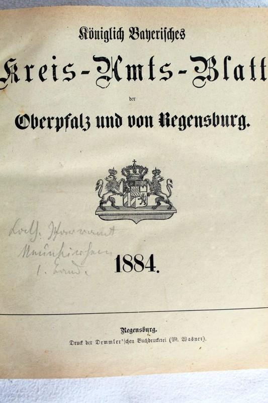 Königlich Bayerisches Kreis-Amts-Blatt der Oberpfalz und von Regensburg. 1884