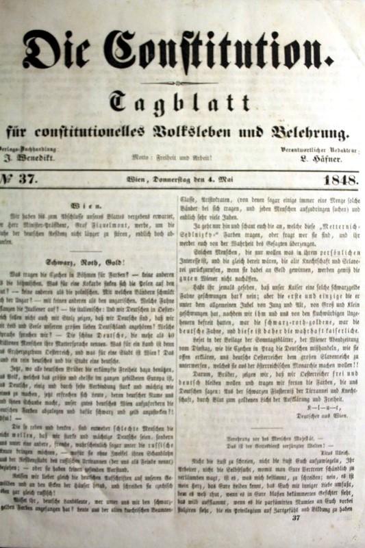 Die Constitution. Tagblatt für constitutionelles Volksleben und Belehrung. 1848 No. 37. 4.Mai 1848 bis No. 106. 30.Juli 1848
