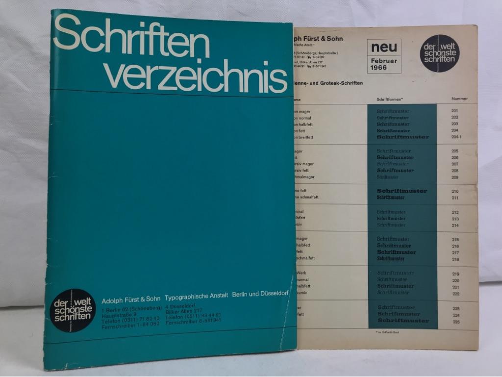 Schriftenverzeichnis. Adolph Fürst & Sohn, Typographische Anstalt.