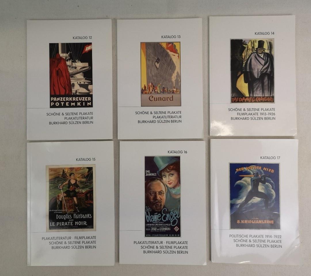 Schöne & Seltene Plakate. Plakatliteratur. Konvolut: 6 Kataloge: Katalog 12; Katalog 13; Katalog 14; Katalog 15; Katalog 16; Katalog 17. Alle Kataloge mit Preisliste.