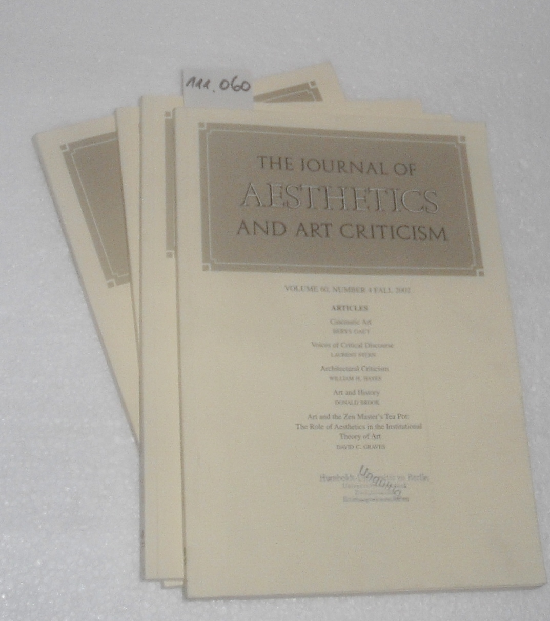 Journal of Aesthetics and Art Criticism. - Band / Volume 60 - 2002. (complete, No.1-4 / komplett, 4 Hefte Nr. 1-4)
