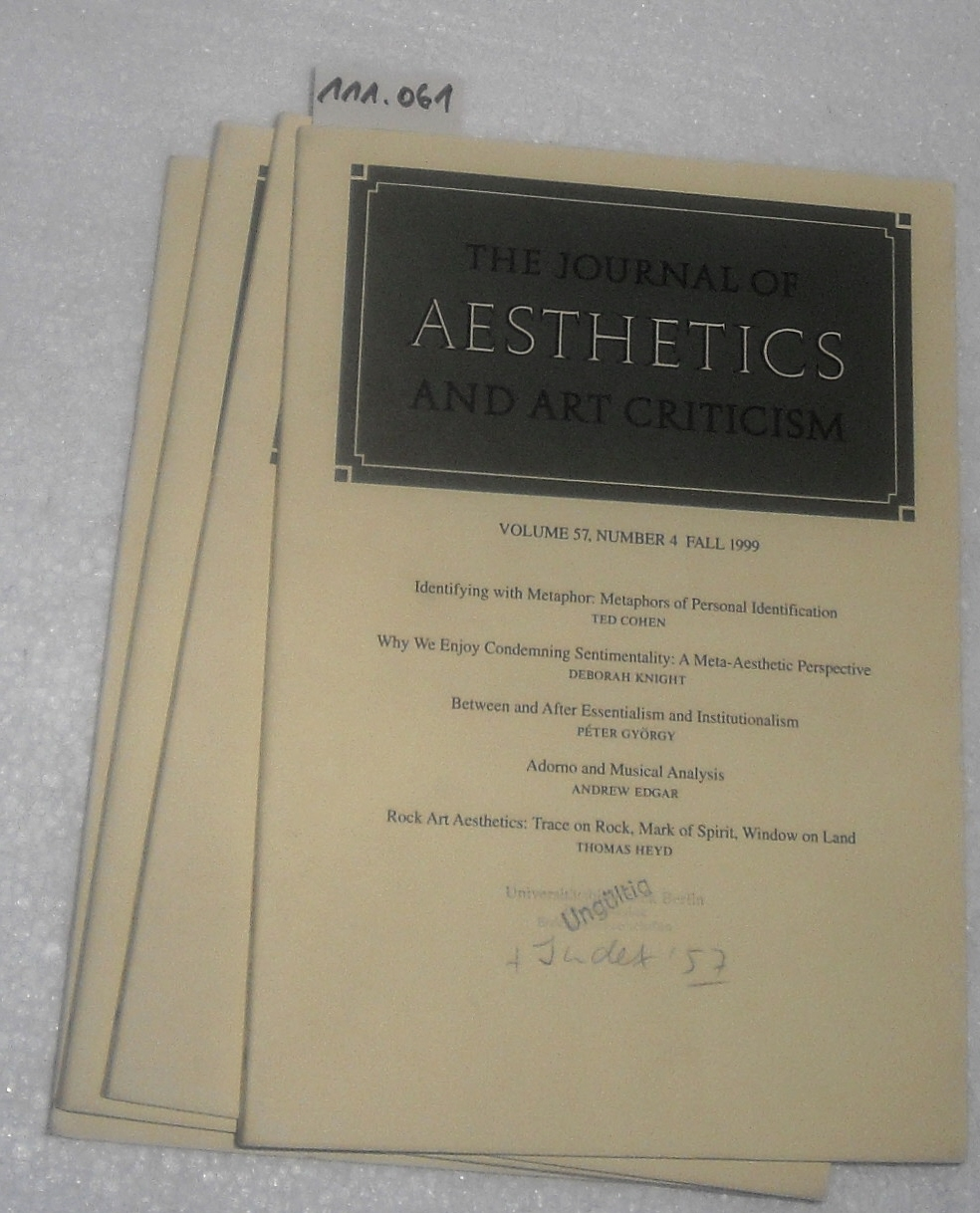 Journal of Aesthetics and Art Criticism. - Band / Volume 57 - 1999. (complete, No.1-4 / komplett, 4 Hefte Nr. 1-4)