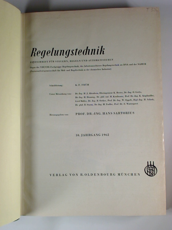 Hans Sartorius (Hg.) Regelungstechnik rt. - 10. Jg. / 1962 (gebundener Jg.-Bd.)