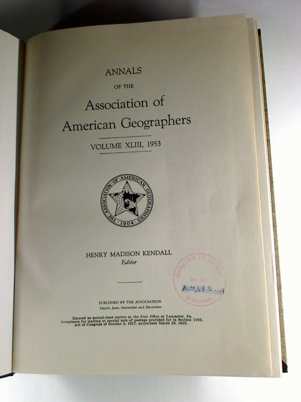 Annals of the Association of American Geographers - Vol. 43,1953.