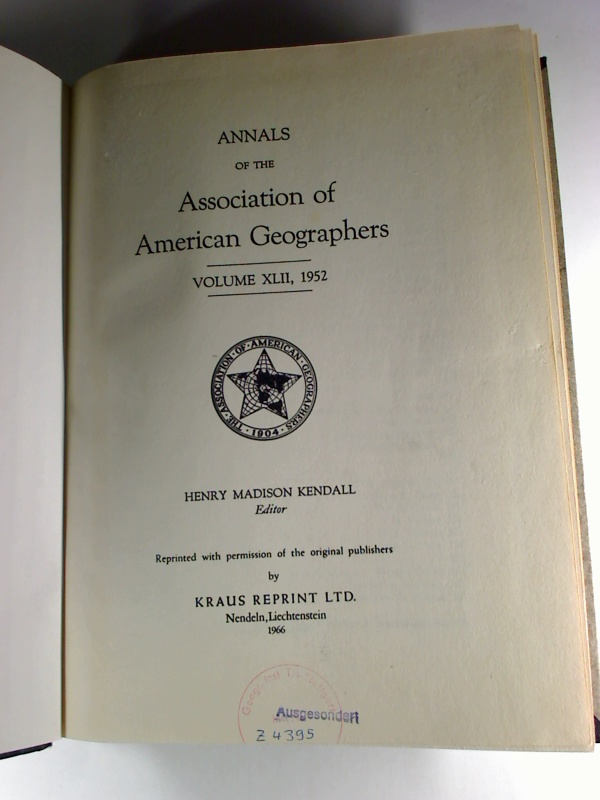 Annals of the Association of American Geographers - Vol. 42, 1952.