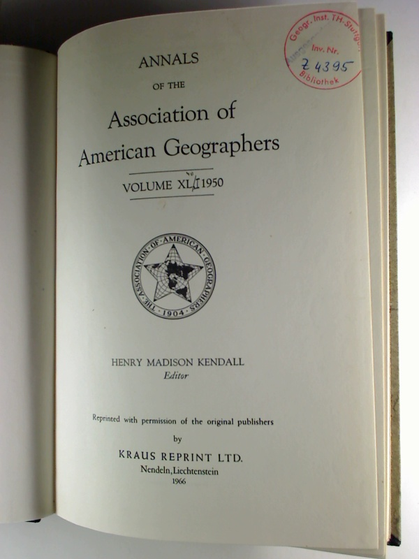 Annals of the Association of American Geographers - Vol. 40 / 1950 Reprint