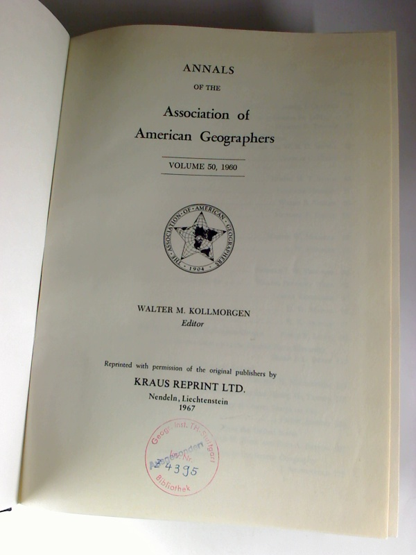 Annals of the Association of American Geographers - Vol. 50 / 1960 Reprint