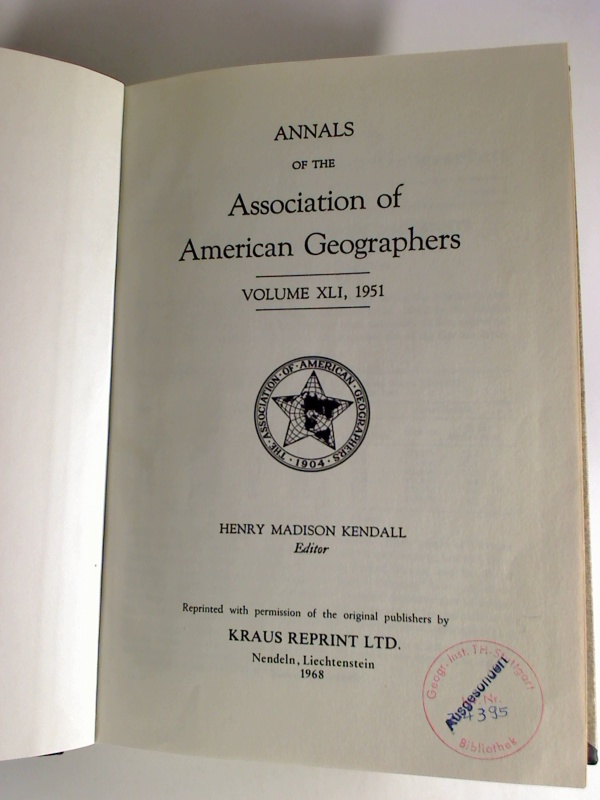 Annals of the Association of American Geographers - Vol. 41, 1951.