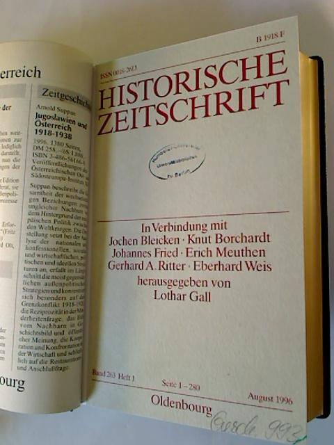 Historische Zeitschrift. - Band 263 / 1996 (2. Halbjahresband, Heft 1 - 3)