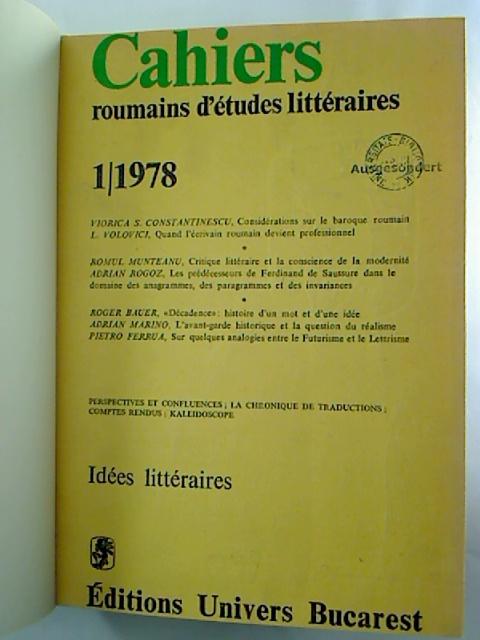 CAHIERS roumains d´etudes litteraires - 1978, 1 - 4 (gebunden in 1 Bd.)