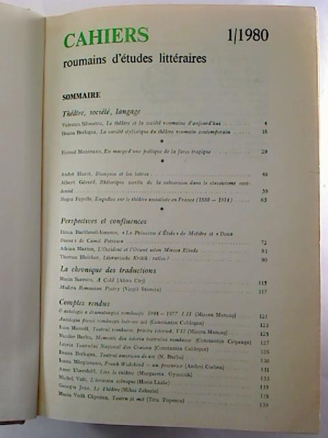 CAHIERS roumains d´etudes litteraires - 1980, 1 - 4 (gebunden in 1 Bd.)