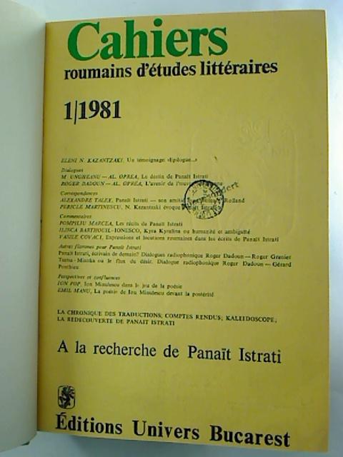 CAHIERS roumains d´etudes litteraires - 1981, 1 - 4 (gebunden in 1 Bd.)