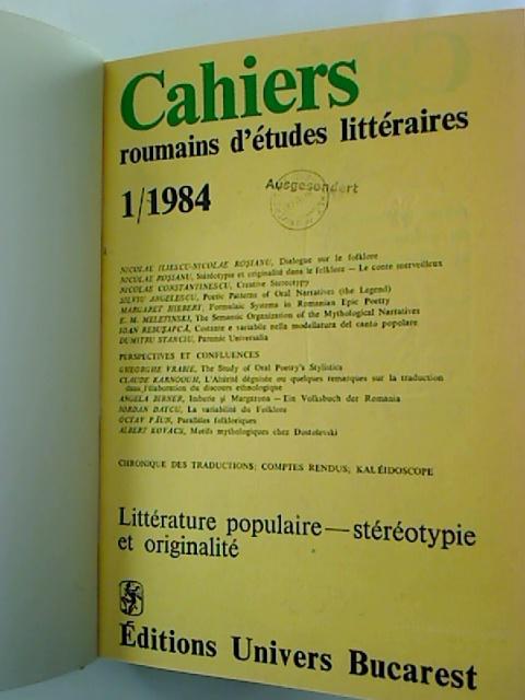 CAHIERS roumains d´etudes litteraires - 1984, 1 - 4 (gebunden in 1 Bd., ohne Nr. 2)