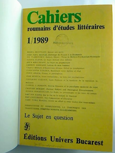 CAHIERS roumains d´etudes litteraires - 1989, 1 - 4 (gebunden in 1 Bd.)