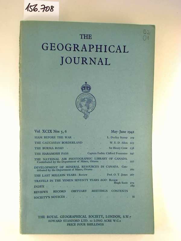 The Geographical Journal - Vol. 99, No. 5-6 / May-June 1942 (Einzelheft / single copy)
