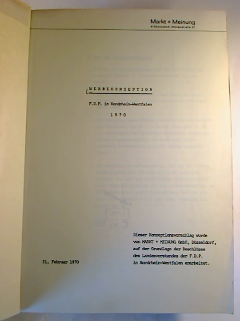Werbekonzeption F.D.P. in Nordrhein-Westfalen 1970.
