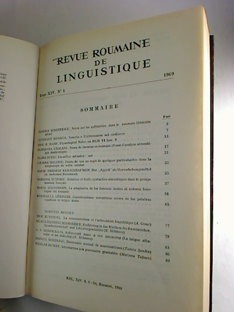 Revue roumaine de linguistique. - Tome 14 / 1969, No. 1 - 6 (gebundn in 1 Bd.)