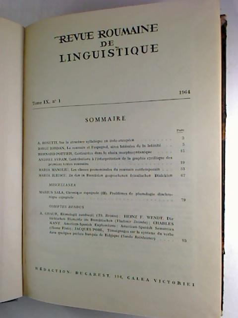 Revue Roumaine de linguistique. - Tome 9 / 1964, No. 1 - 6 (gebunden in 1 Bd.)