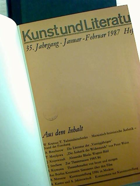 Sieglinde Wendemuth (Redaktion) Kunst und Literatur - 35. Jahrgang / 1987, Heft 1 - 6 (kompl. Jg., gebunden in 2 Bde)