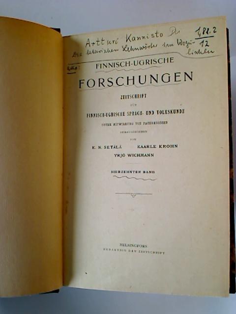 Finnisch-Ugrische Forschungen. - 17. Band / 1925.