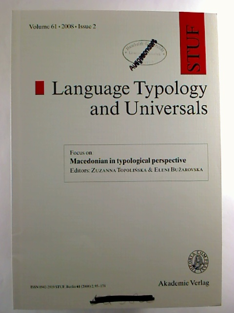 Language Typology and Universals - Vol. 61 / 2008, Issue 2.