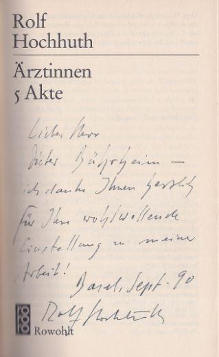 Ärztinnen. 5 Akte.  rororo 5703. 1. Auflage Taschenbuch - Hochhuth, Rolf.
