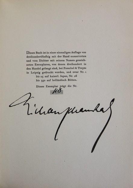 Herbst. Gedichte. Einmalige Auflage von 350 numerierten Exemplaren. - Schaukal, Richard.