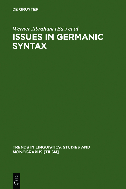 Issues in Germanic Syntax. ( = Trends in Linguistics/ Studies and Monographs, 44) .