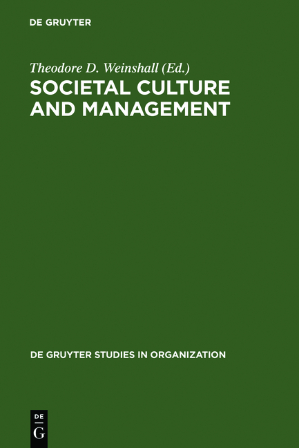 Weinshall, Theodore D. (Ed.) Social Culture and Management.