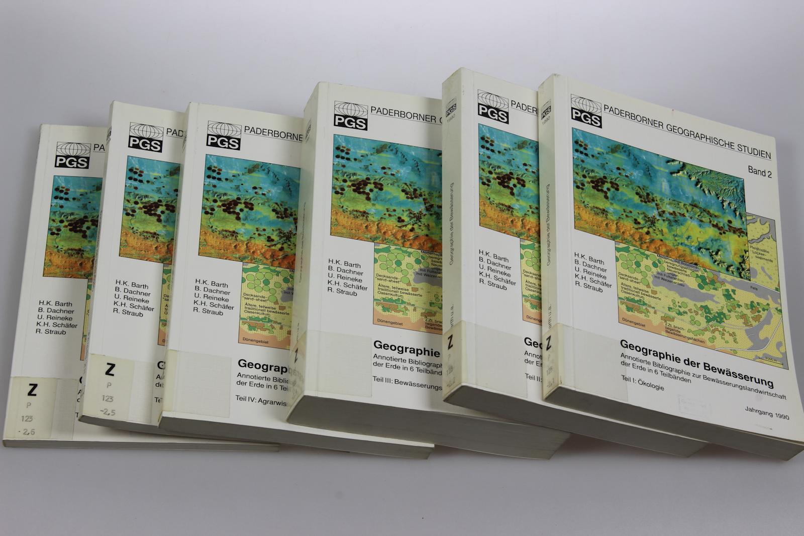 Geographie der Bewässerung. Annotierte Bibliographie zur Bewässerungslandwirtschaft der Erde in 6 Teilbänden. (=Paderborner Geographische Studien; Band 2/ I-VI, 1990). [6 Bd.].