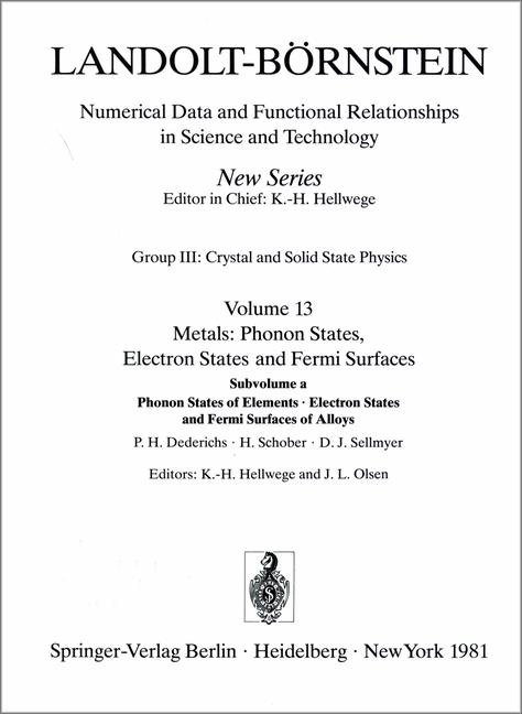 Landolt-Börnstein: Numerical Data and Functional Relationships in Science and Technology. New Series. Group III: Crystal & Solid State Physics. Vol.13: Metals: Phonon States, Electron States & Fermi Surfaces. Subvolume a: Phonon States of Elements - Electron States and Fermi Surfaces of Alloys. Vol. 13/a.