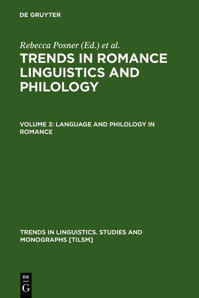 Trends in Romance Linguistics and Philology. Vol. 2: Synchronic Romance Linguistics. (=Trends in Linguistics. Studies and Monographs; 13).