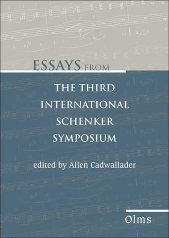 Essays from the Third International Schenker Symposium, Edited by Allen Cadwallader. Jan Miyake, editorial assistant.