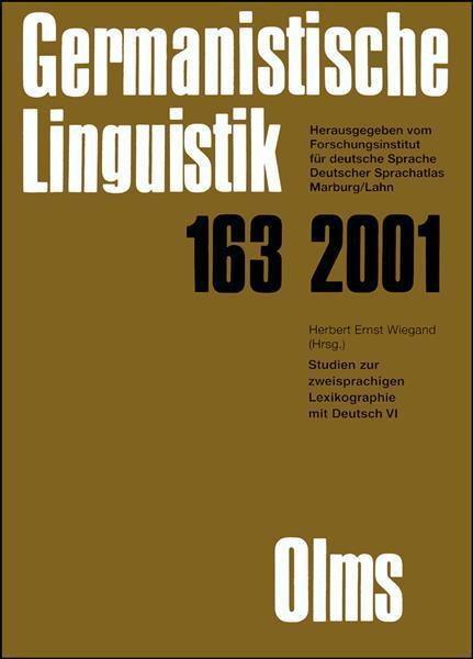 Studien zur zweisprachigen Lexikographie im Deutsch VI, Herausgegeben von Herbert Ernst Wiegand.